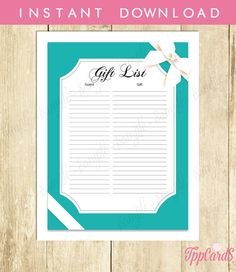 Baby and Co Baby Shower Gift List Baby Co Baby Shower List Baby Shower Sign in Sheet Baby Shower Registry in Aqua and White 0031A by TppCardS #tppcards #printable #invitations