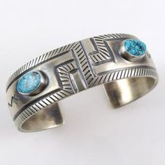 Spiderweb Kingman Turquoise Cuff by Allison Lee - Garland's Indian Jewelry