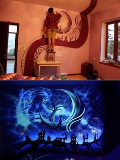 Mesmerizing bedroom mural beams with new life once the lights are out.