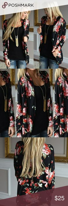 New floral kimono jacket This beautiful floral kimono jacket is the new hot trend. It's 100% polyester and very comfortable to wear. The length from shoulder to hem is 32 in. And from shoulder to shoulder it is 17 in. Jackets & Coats Blazers