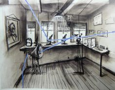 Drawing from Stereoscope (Laboratory with Microscope), charcoal and pastel, 75 x 106 cm. South African Artists, Charcoal Drawing, Blue Line, Animation Film, Stop Motion, Year 9, Black And White, Drawings, Grid