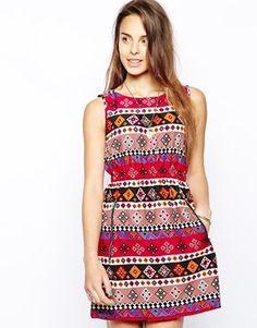 Iska Zip Dress in Diamond Print