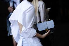 Street Style   Open Tie Back Shirt & Designer Handbag
