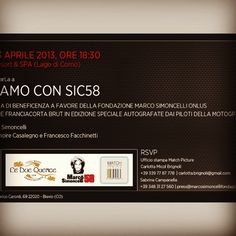 Charity Event dedicated to Marco Simoncelli, MotoGP rider dead in 2008 at CastaDiva Resort & SPA on Saturday, April 13.