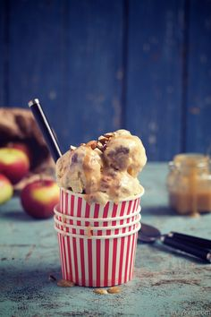 Oven roasted apple ice cream with warm ginger caramel