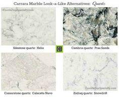four quartz countertop colors that look like white Carrara marble-collage