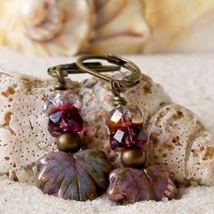 These maple leaf Czech glass beads make adorable dangle earrings. They would make a great gift for someone who loves beaded jewelry.   Love