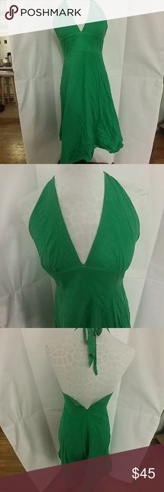 J. Crew green cotton halter dress This is a gorgeous, bright green halter sundress by J. Crew.  100% cotton.  Fully lined.  Size 4.  In very good used condition (some minor signs of wear, no rips or tears.) J. Crew Dresses