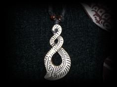 Maori Pikuroa Designed Bone Pendant Necklace