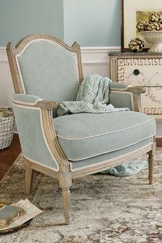 Andorra Armchair - Grey Linen Upholstered Armchair, Oak & Linen Armchair | Soft Surroundings