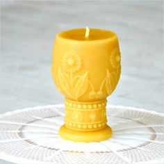 Beeswax Candle Daisy Goblet Beeswax Pillar by freshpastrystand, $36.00