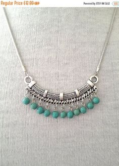 10% OFF JEWELRY SALE Silver Turquoise Necklace por BohoYogaJewelry