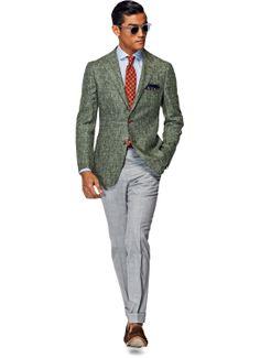 "Silk/Linen ""Havana Green"" sport coat from Suit Supply's Spring/Summer 2014 collection."