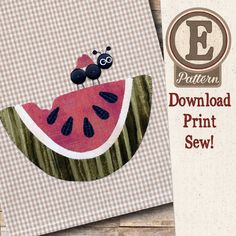 (TWB-EP41) E-pattern P41 Watermelon Patternlet Bear Design, My Design, Buy Tea, Small Sewing Projects, All The Way Down, Little White, Large White, Tea Towels, Watermelon