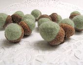 Twelve Light Green Wool Acorn Fall Decorations Handmade from Felted Wool Sweaters and Real Caps