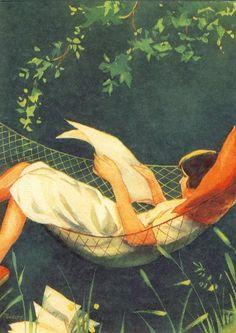 Martta Wendelin #reading #hammock #illustration