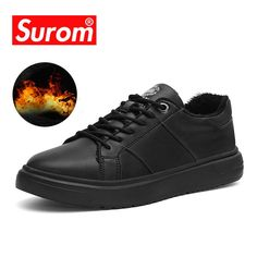 SUROM Band Leather Mens Shoes Casual Fashion 2018 Winter Plush Zapatos De  Hombre Warm Sneakers Scarpe Uomo Lace Up Flats Black. Yesterday s price  US   47.98 ... 26288988e72