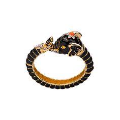 Kenneth Jay Lane Black Elephant Bracelet found on Polyvore