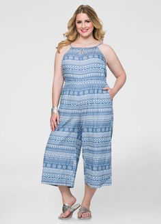 Image of Tribal Cropped Wide Leg Jumpsuit