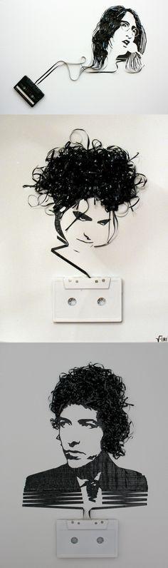 Erika Iris Simmons usa bobinas de fita cassete, vídeo, etc recicladas para recriar famosas fotografias de artistas. Seu site é: www.iri5.com/
