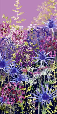 Blue And Purple Flowers, Pretty Flowers, Sea Holly, Midnight Garden, Floral Artwork, Watercolor Paper, Garden Art, Giclee Print, Art Prints