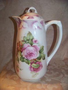 Antique Porcelain Chocolate Pot Elegant Roses Decor w Airbrushed Details Germany | eBay
