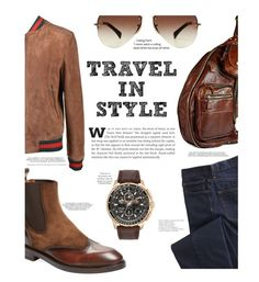 """Travel in Style! TFS 4/11"" by chalsouv ❤ liked on Polyvore featuring Antonio Maurizi, Gucci, TravelSmith, Ray-Ban, Citizen, men's fashion, menswear, topsets, Leather and travelinstyle"