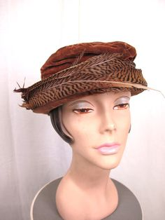 1900's 1910s Edwardian Velvet and Feather Hat. $95.00, via Etsy.