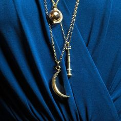 @monicarkosann 18K yellow gold crescent moon flecked with diamonds.