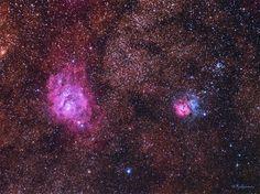 Nebulosa de La Laguna (M8), Nebulosa Trifida (M20) y M21