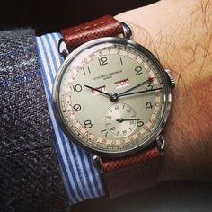 1945 Vacheron Constantin Triple Calendar in stainless steel. (at HODINKEE Headquarters) Dream Watches, Fine Watches, Luxury Watches, Cool Watches, Watches For Men, Rolex Watches, Vintage Rolex, Vintage Watches, Vacheron Constantin