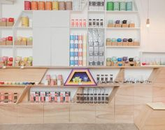 www.littlerugshop.com Renée Sebastians premium #tea brand Da.U.De recently opened a storefront called @sweeteasph in a #Manila shopping mall with the help of architect Íris Cantante of @encajamuebles. Take a tour of the versatile and fun space on designmilk.com by designmilk