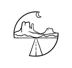 Simple Doodle of Desert Road Night . - Simple doodle of desert road night - Doodle Drawings, Easy Drawings, Tattoo Drawings, Tattoos, Simple Doodles Drawings, Simple Art, Doodle Art Simple, Art Sketches, Simple Sketches