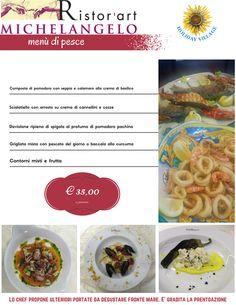 Il #menù con alcune #delizie del nostro chef. Da degustare al nostro Ristor'Art Michelangelo guardando il nostro #MeravigliosoMare tra #Terracina e #Sperlonga