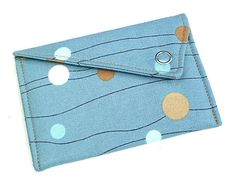 Business Card Holder - Blue with Brown and White Circles