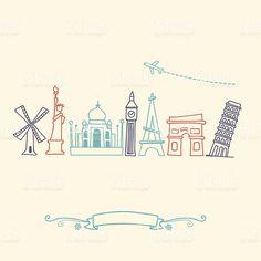 International atracciones y destinos turísticos de la ciudad international atracciones y destinos turísticos de la ciudad - arte vectorial de stock y más imágenes de globo terráqueo libre de derechos