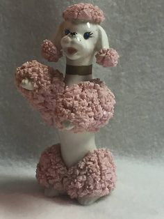 Sitting Pink Poodle with Blue 'Crystal' Eyes and Gold Collar, Pink Poodle, Standard Poodles, Blue Crystals, Cute Pink, Miniature, Arms, Toy, Ceramics