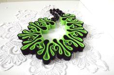 Felt Necklace, Boho Bib, Eco Recycled, Free Form Neon Green Black Eco Felt Bead Necklace, Warm Collar, Fashion Jewelry, Felted. $25.00, via Etsy.