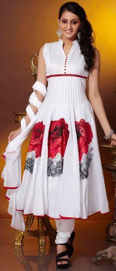 #White Readymade #Cotton #Churidar #Kameez