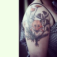 fox with wreath of yarrow and california poppies. tattooed by Alice Carrier