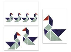 3x Postkarte - TANGRAM
