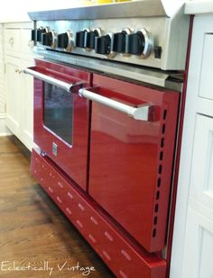 not just a stove. it's RED with six burners and two ovens. seriously!