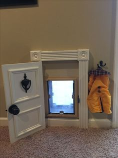 Puppy Room Design Idea ~ Home Design Ideas ***but w/ a sliding door*** Animal Room, Dog Rooms, Rooms For Dogs, My New Room, My Dream Home, Home Projects, Farmhouse Decor, Farmhouse Ideas, Modern Farmhouse