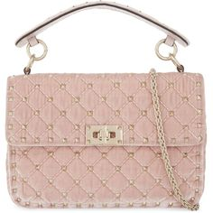 Valentino Rockstud medium quilted velvet shoulder bag (€1.660) ❤ liked on Polyvore featuring bags, handbags, shoulder bags, valentino handbags, valentino shoulder bag, over the shoulder handbags, quilted purses and velvet purse