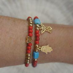 Hamsa, angel charm bracelet , Set of 2, Coral, turquoise color beaded bracelets