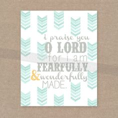 """INSTANT DOWNLOAD - Scripture Print for the wall - Psalm 139 """"Fearfully  Wonderfully Made"""" arrow 8x10 bible verse wall art decor"""