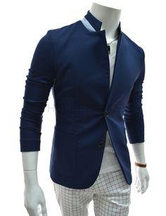 (NDJ02-NAVY) Slim Fit China Collar 2 Tone Patched 2 Button Half Lining Stretchy Blazer