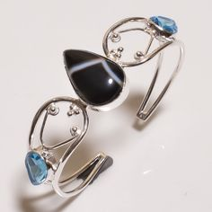 Swiss Blue Topaz & Botswana Agate .925 Silver Handmade Bangle Cuff Jewelry R1440