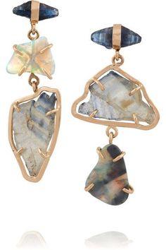 Melissa Joy Manning | 14-karat gold, sapphire and opal earrings | http://NET-A-PORTER.COM