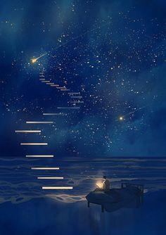 Fantasy art drawings pictures new Ideas Galaxy Wallpaper, Anime Scenery Wallpaper, Wallpaper Samsung, Fantasy Landscape, Night Skies, Sky At Night, Art Night, Stars At Night, Stars And Moon